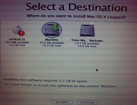 Selecione a Partição a instalar o Mac